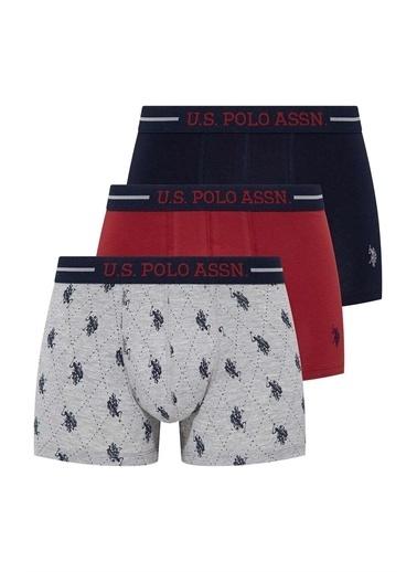 U.S. Polo Assn. Erkek 3 Lü Boxer Bordo